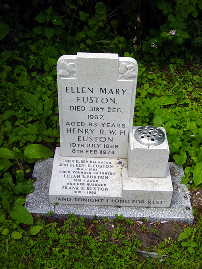 Gravestone of the Euston family. This replaces the gravestone of Ellen Mary Euston - June 2010.