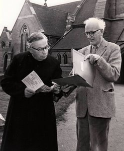 Rev. Herbert Langford with Church Warden, William Packe discussing the Roof Appeal for All Saints' Church, Winthorpe - Christmas 1980.