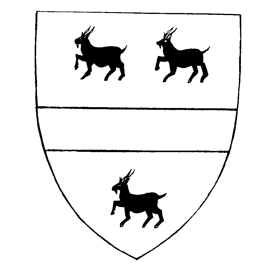 Handley Arms -  'Argent a Fess Gules between three goats passant Sable horned Or.'