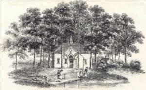 Bartholomew Howlett's Engraving of The Old School House now called The Dial House - 1807.