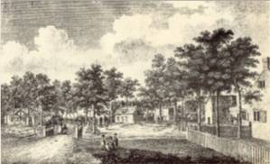 Bartholomew Howlett's Engraving of the Village Green showing L. to R. The Schoolhouse (Dial House). The Maypole. The Cross. The Well. The Almshouses and The Lord Nelson Sign - 1807.