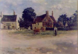 The Village Green painted by Miss E.M.Branston - 1891.