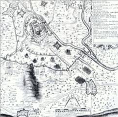Enlargement of Clampe's Engraving of the Siege-Plann of Newark showing the Winthorpe Area - 1645-46.