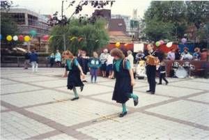 Sword Dance at Lincoln - 1990. Emma Reynolds, Clara Warren and Paul Cooper.